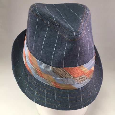 Blue Cotton Twill Trilby Hat w/White Pinstripe & Gold & Orange Tie Detail