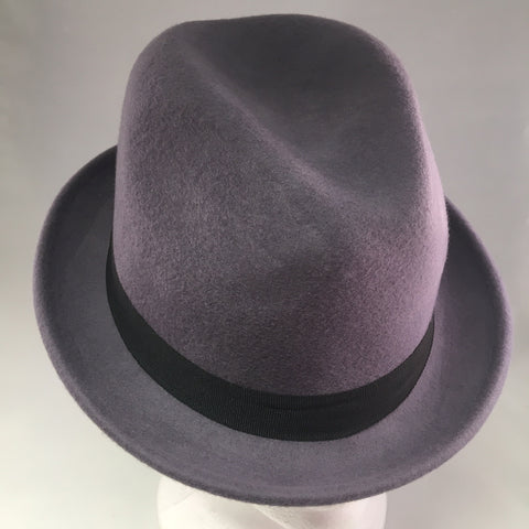 Lilac Gray Felt Bowler w/Black Ribbon Detail