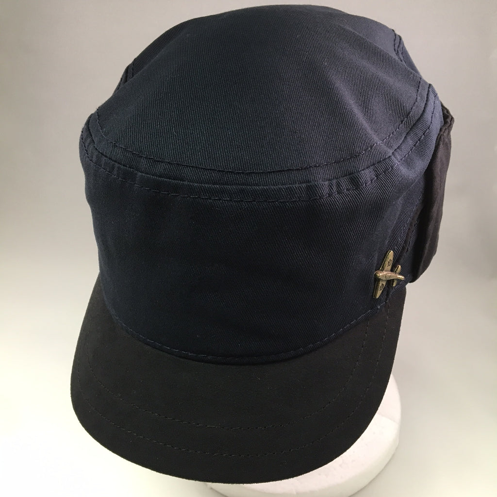 Navy Cotton Patrol Cap w/ Ear Flap