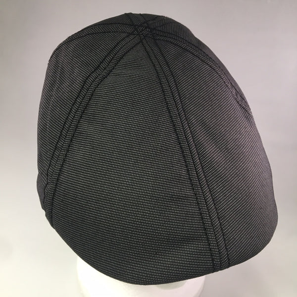 Black w/White Cotton Flat Cap