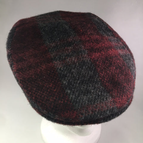 Red/Gray Plaid Wool Flat Cap