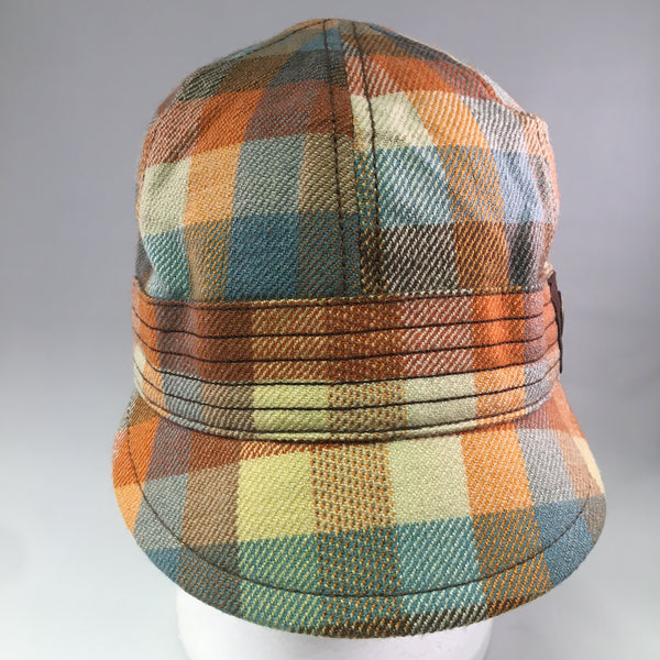 Orange/Blue Plaid Cotton Schoolboy Cap