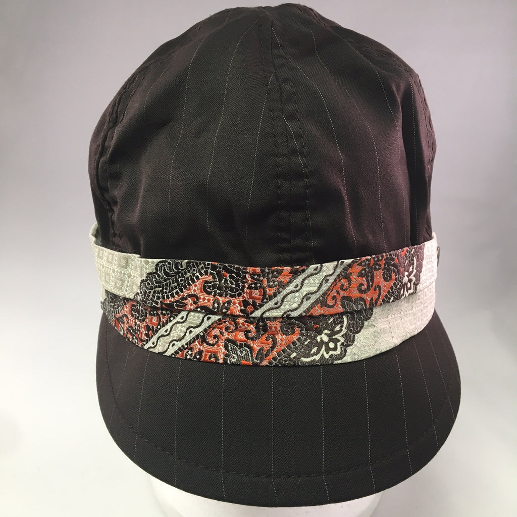 Dark Brown Pinstripe Cotton Schoolboy Cap w/Orange Tie Detail