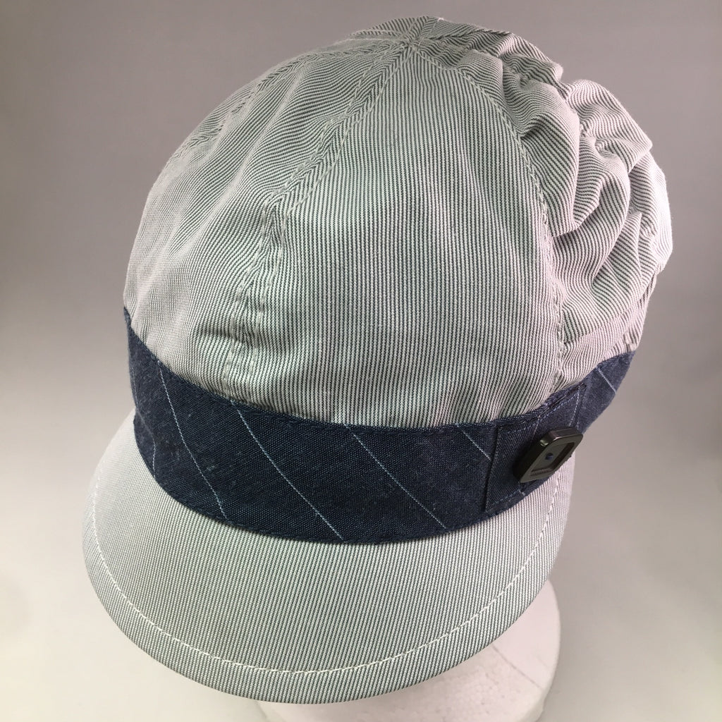 Blue/White Pinstripe Schoolboy Cap w/Ruching & Denim & Button Detail