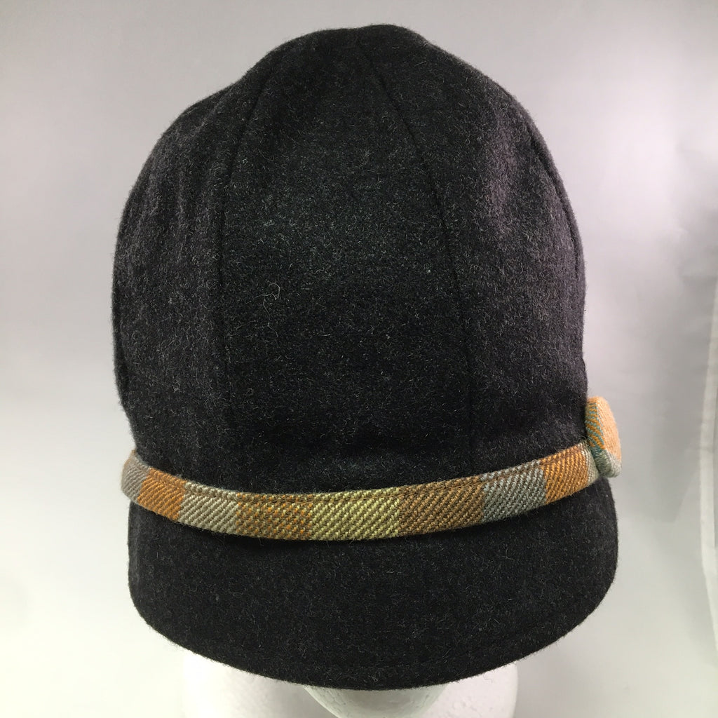 Dark Gray Wool Schoolboy Cap w/Orange & Blue Button Detail