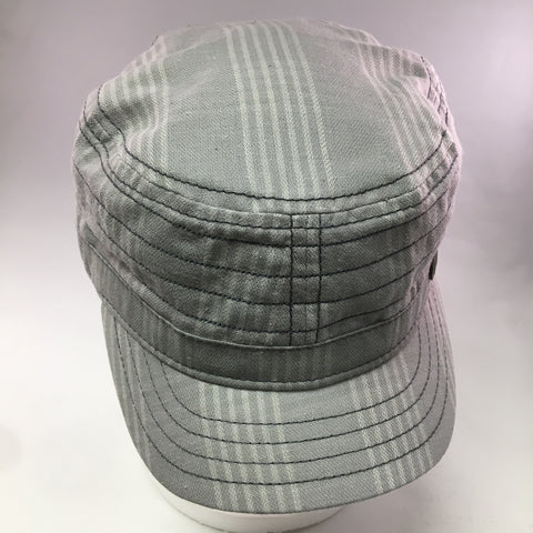 Gray w/White Cotton Military Cap w/Seam Detail
