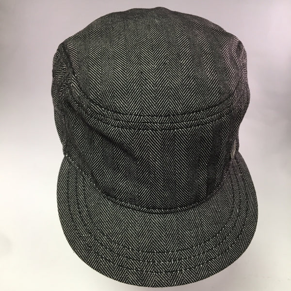 Black w/White Herringbone Cotton Military Cap