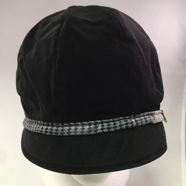 Black Velveteen Schoolboy Cap w/Gray Ribbon Detail