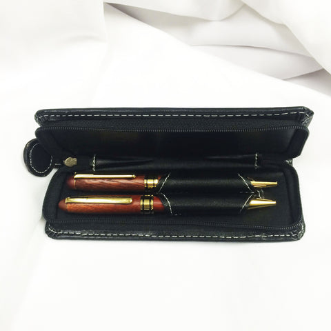 Wooden ACCO Pen & Pencil Set