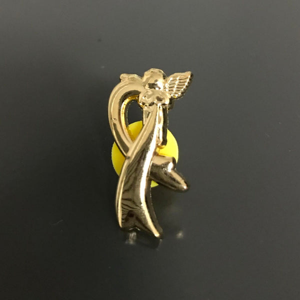 Gold Ribbon Angel Lapel Pin