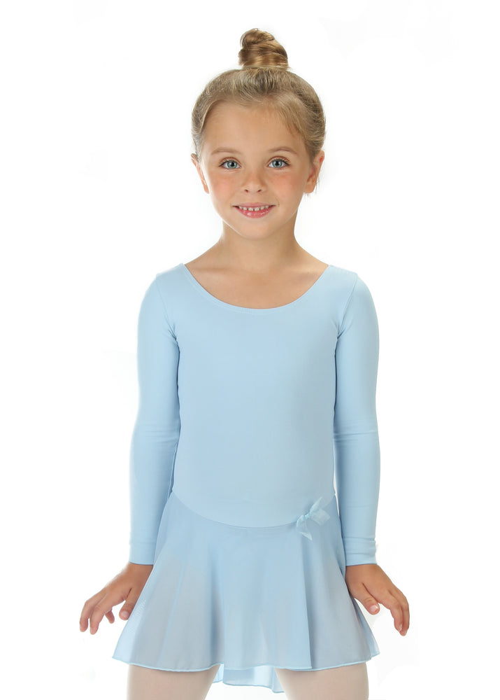 Elowel Kids Girls Ruffle Long Sleeve Skirted Leotard (Size 2-14 Years) Color Light blue