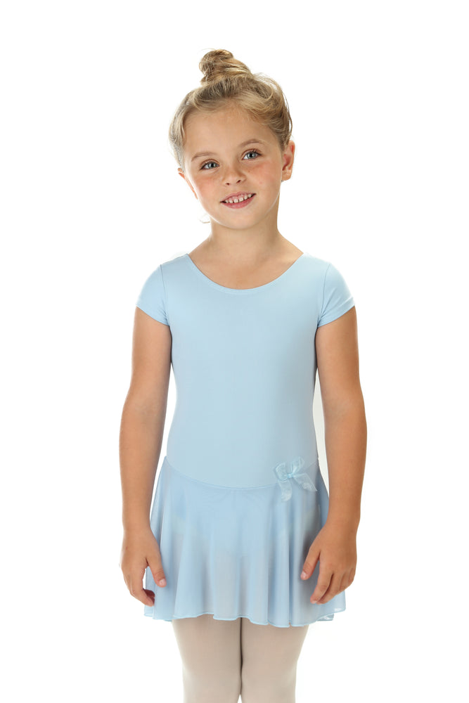 Elowel Kids Girls' Ruffle Short Sleeve Skirted Leotard (Size 2-14 Years) Light Blue