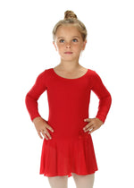 Elowel Kids Girls Ruffle Long Sleeve Skirted Leotard (Size 2-14 Years) Color Red