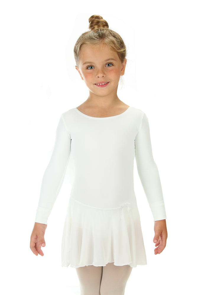Elowel Kids Girls Ruffle Long Sleeve Skirted Leotard (Size 2-14 Years) Color White