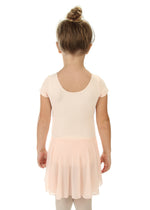 Elowel Kids Girls' Ruffle Short Sleeve Skirted Leotard (Size 2-14 Years) Nude Pink
