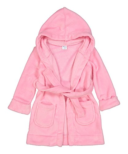 Elowel Boys Girls Light Pink Hooded Childrens Fleece Sleep Robe Size 2 Toddler -14Y