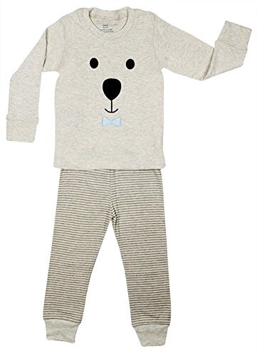 Elowel Girls Teddy Bear Face 2 Piece Pajama Set 100% Cotton (Size 6 Months to 8 Years)