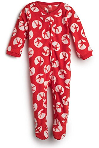 Elowel Baby Girls Footed Reindeer Pajama Sleeper Fleece (Size 6M-5Years)