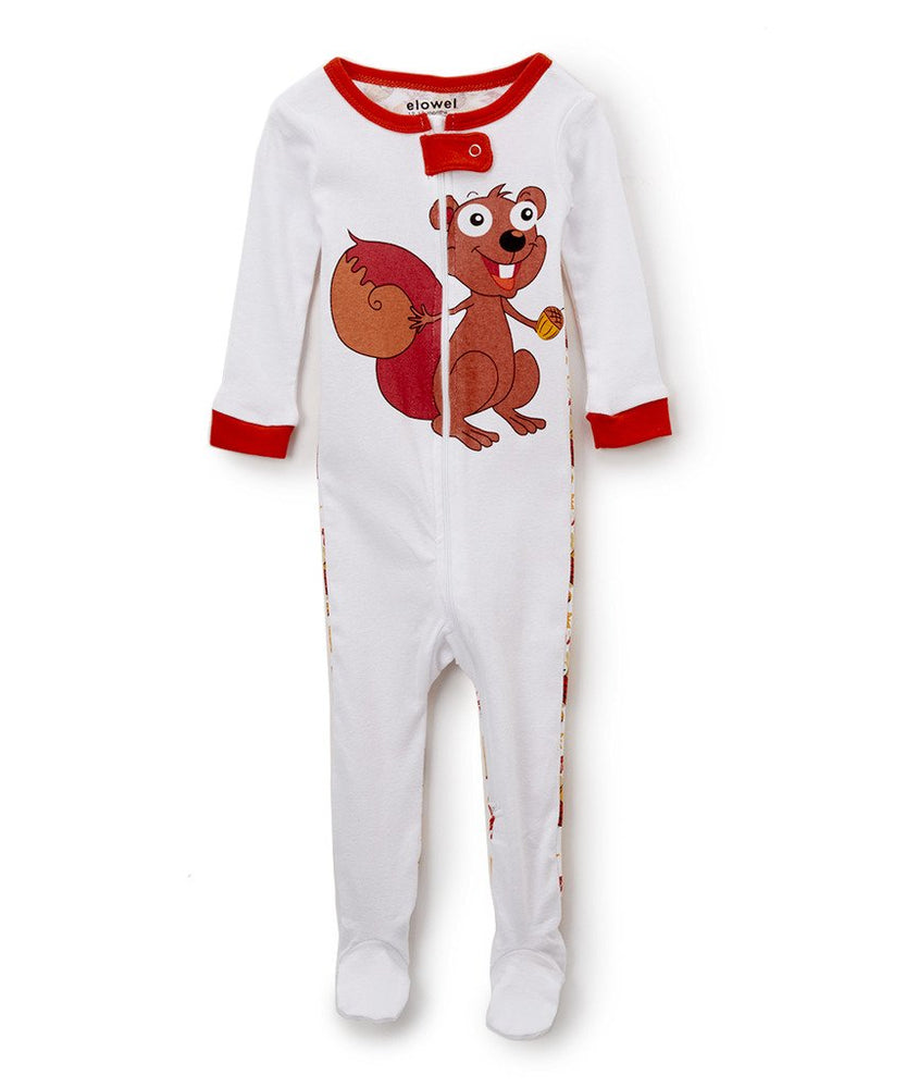 Elowel Baby Girls Footed Chipmunk Pajama Sleeper 100% Cotton (6M-5Y)