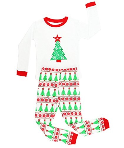 Elowel Kids Christmas Tree  Pajama Set 100% Cotton (Size6M-12Y)