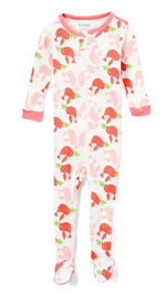 Elowel Baby Girls Footed Pink Birds Pajama Sleeper 100% Cotton(Size 6M-5Years)