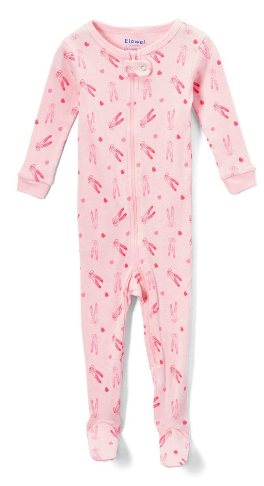 Elowel Baby Girls Footed Little Ballerina Pajama Sleeper 100% Cotton(Size 6M-5Years)