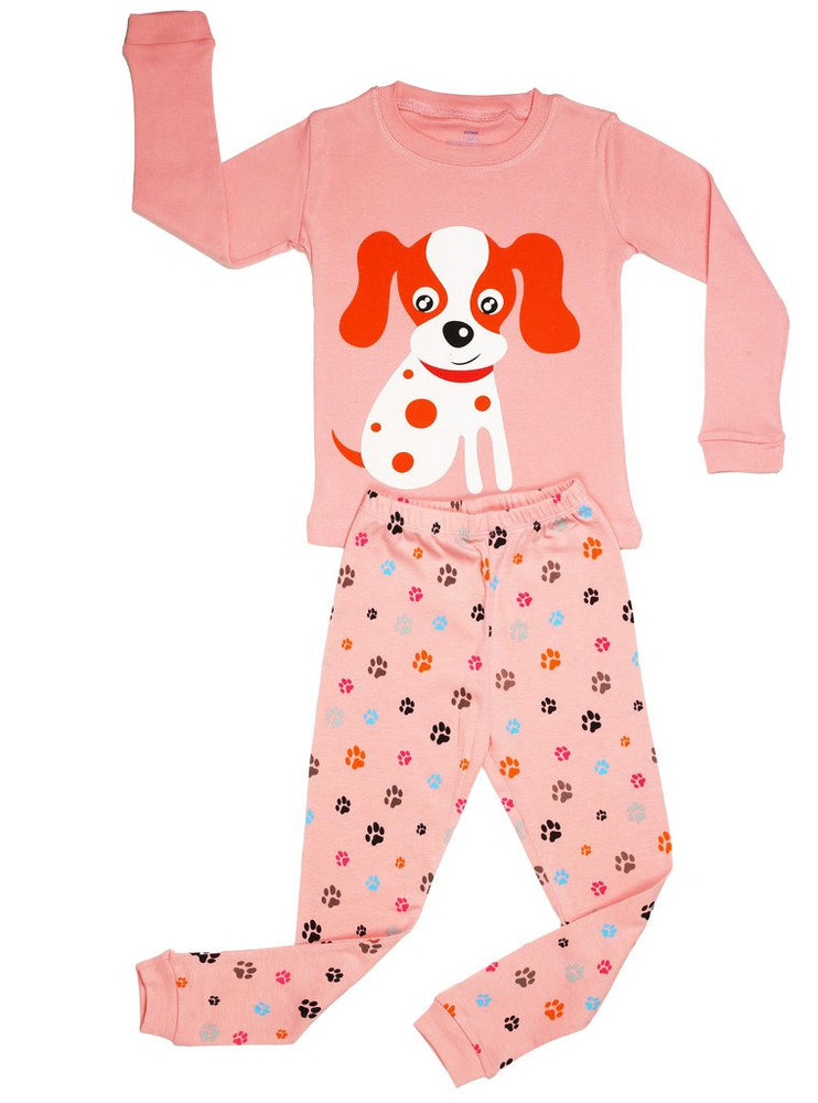 Elowel Girls Dog 2 Piece Kids Childrens Pajama Set 100% Cotton (6M-8Y)