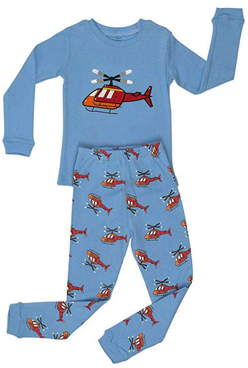 Elowel Little Boys Helicopter 2 Piece Pajama Set 100% Cotton