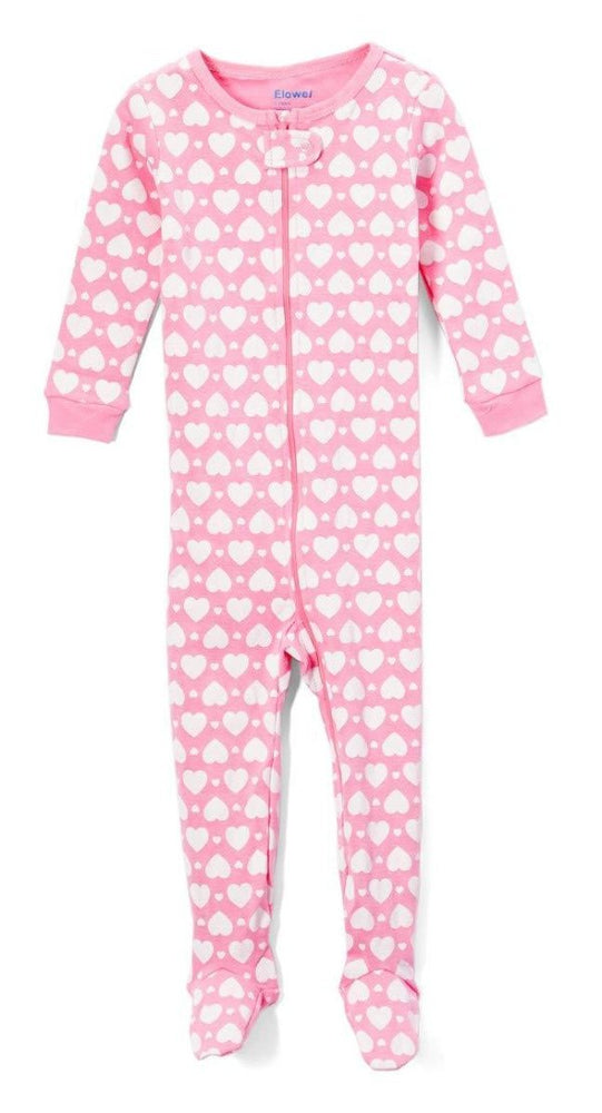 Elowel Baby Girls Footed Heart Pajama Sleeper 100% Cotton(Size 6M-5Years)