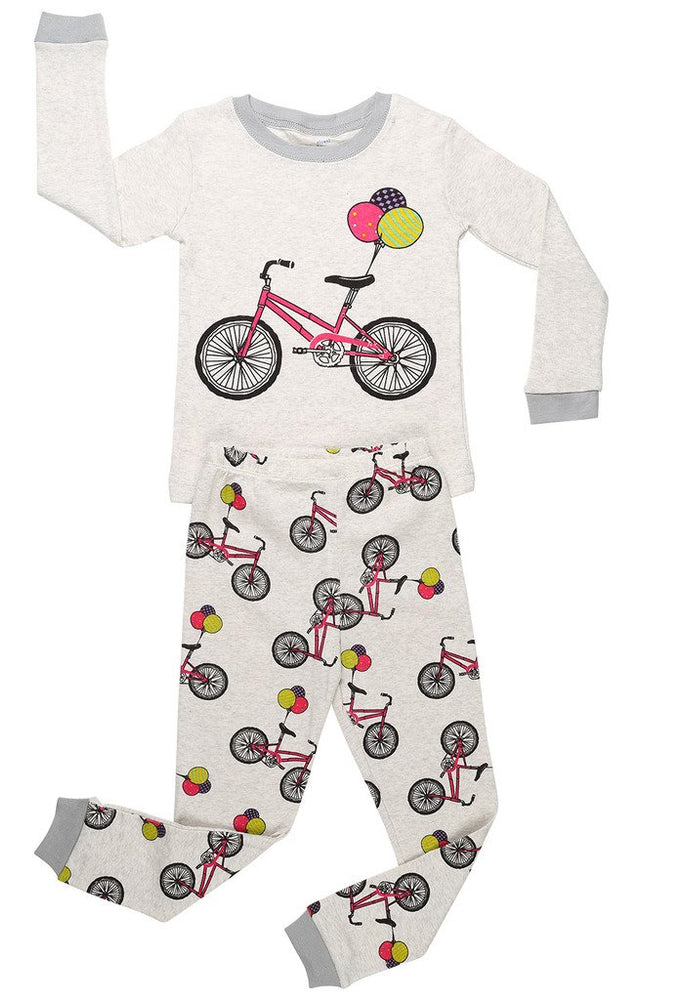 Elowel Girls Bike 2 Piece Pajama Set 100% Cotton (Size12M-8Y)