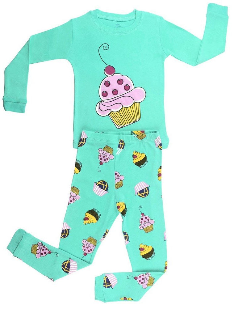 Elowel Girls Cupcake 2 Piece Kids Childrens Pajama Set 100% Cotton (6M-8Y)