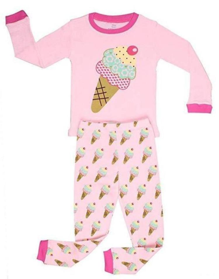 Elowel Girls Ice Cream 2 Piece Pajama Set 100% Cotton Size 18 Months-8 Year