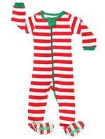 Elowel Baby Boys Girls Footed Christmas Red & White  Pajama Sleeper Cotton Size 6 Month -5 Years
