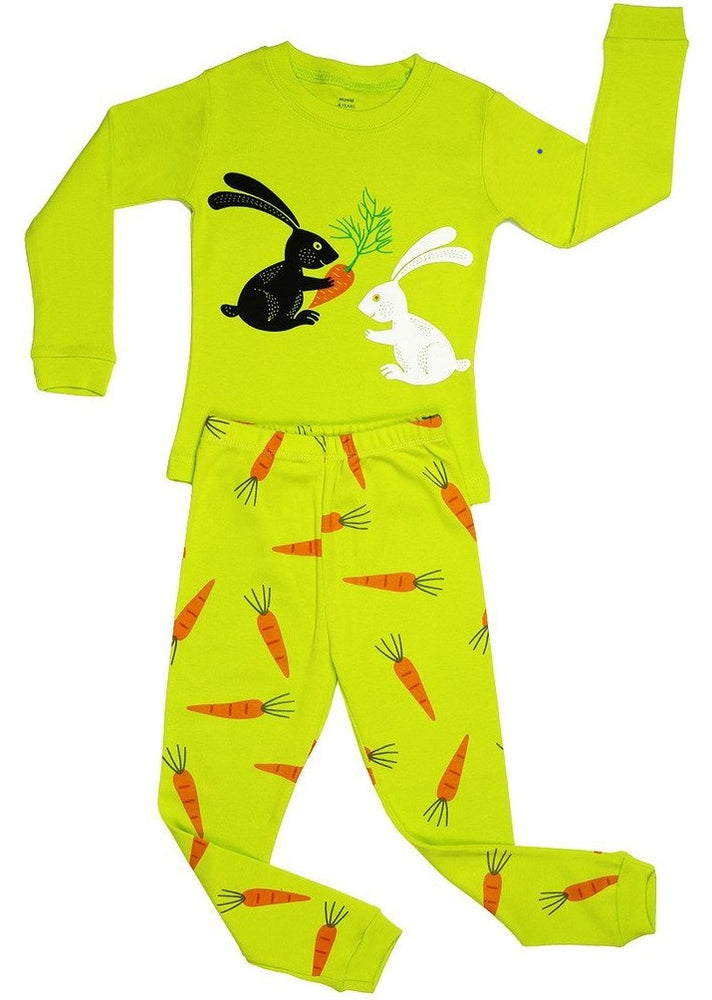 Elowel Girls Bunny Rabbit 2 Piece Kids Childrens Pajama Set 100% Cotton (6M-8Y)