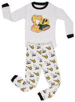 Elowel Little Boys Bulldozer 2 Piece Pajama Set 100% Cotton (Size2Y-8Y)