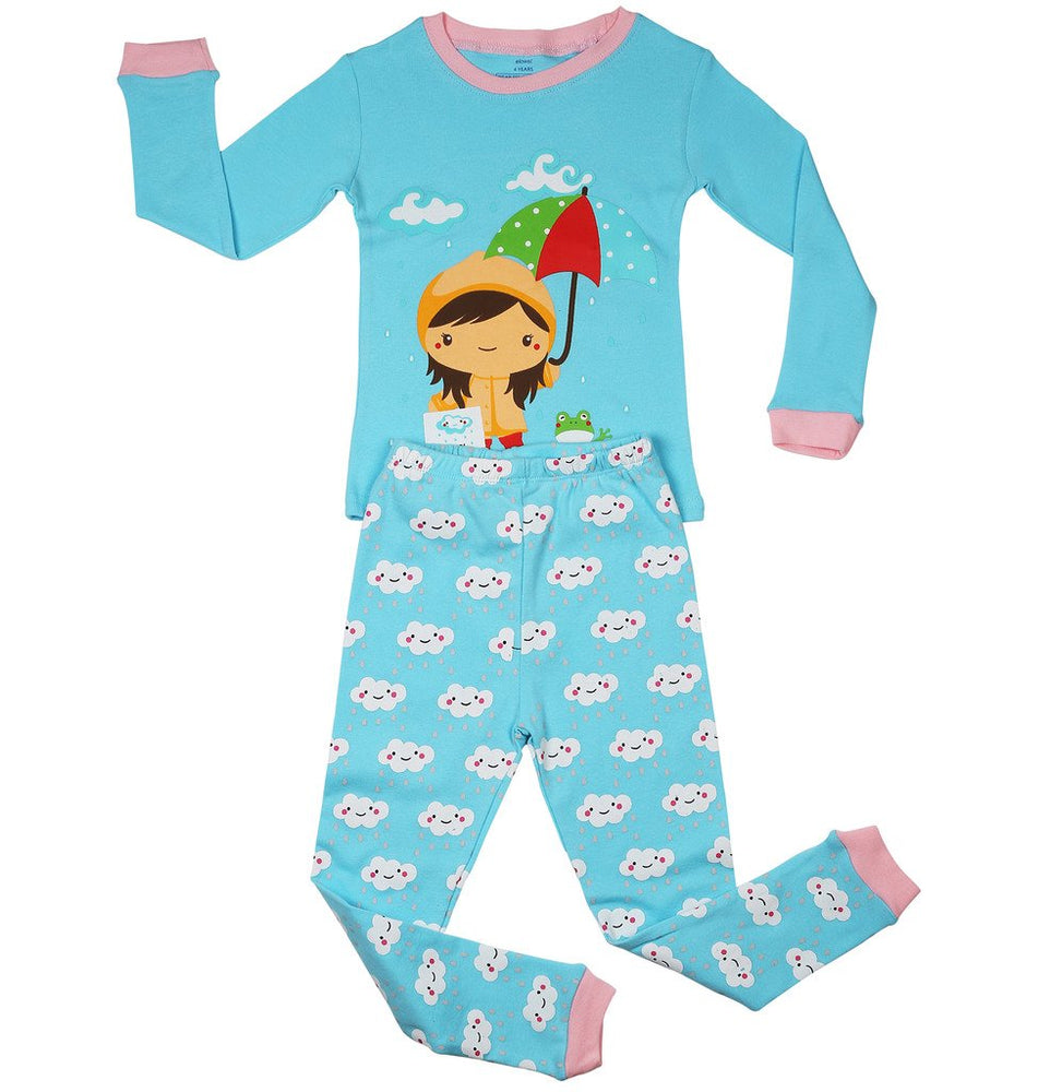 Elowel Girls Rainy Girl 2 Piece Pajama Set 100% Cotton (Size2Y-8Y)