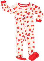 Elowel Baby Girls Footed Strawberry Pajama Sleeper 100% Cotton (Size 6M-5Years)
