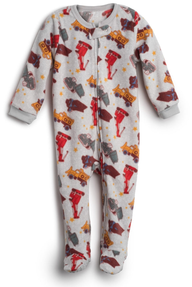 Elowel Baby Boys Footed Sand Truck Pajama Sleeper Fleece (Size 6M-5Years)