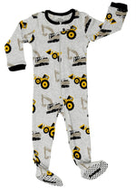 "Elowel Baby Boys footed ""Bulldozer"" pajama sleeper 100% cotton (size 6M-5Years)"