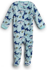Elowel Baby Boys Footed Shark Fish Pajama Sleeper Fleece (Size 6M-5Years)