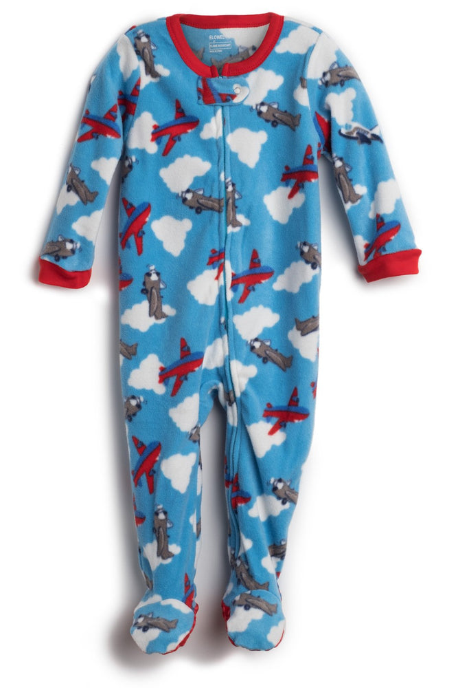 Elowel Baby Boys Footed Airplane Pajama Sleeper Fleece (Size 6M-5Years)