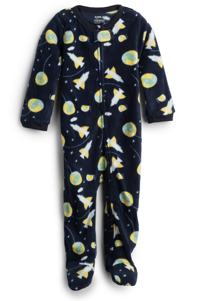 Elowel Baby Boys Footed Space Rocket Pajama Sleeper Fleece (Size 6M-5Years)
