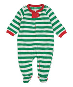 Elowel Baby Boys Girls Footed Fleece Christmas Green & White Pajama Sleeper Size 6M-5Y
