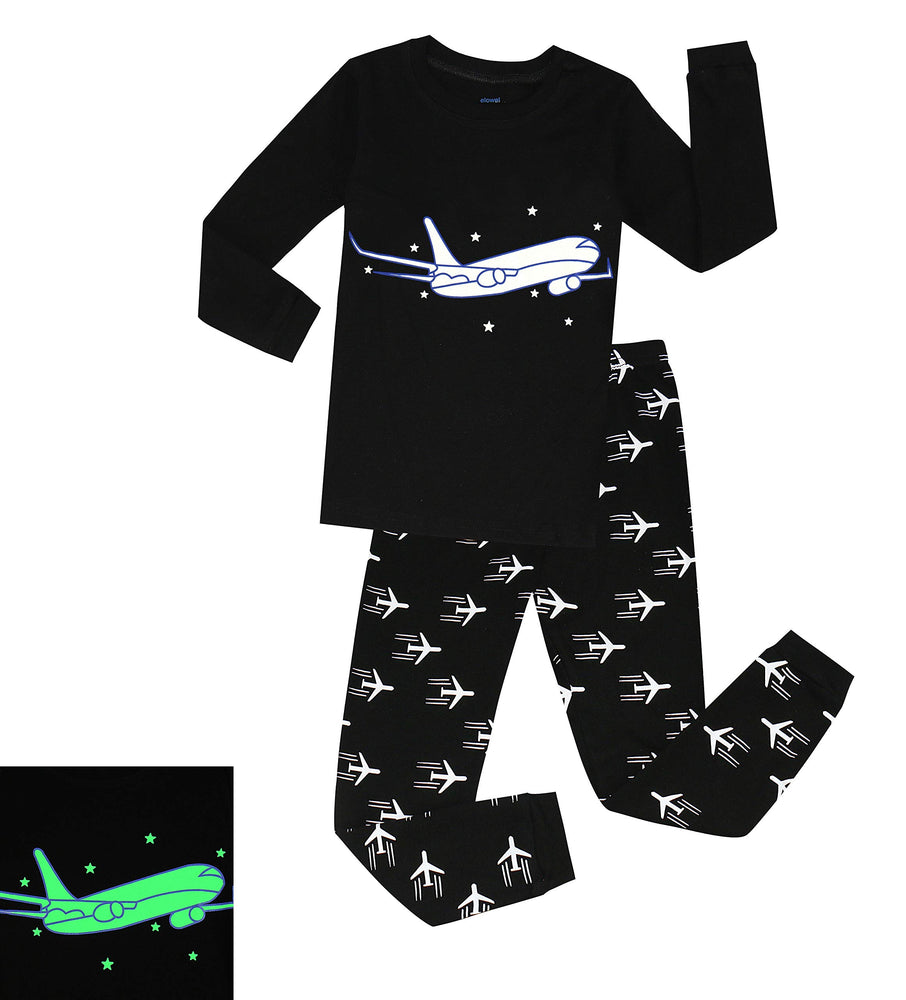 Elowel Boys Glow in The Dark Airplane 2 Piece Pajamas Pjs Set 100% Cotton (Size2Y-10Y)