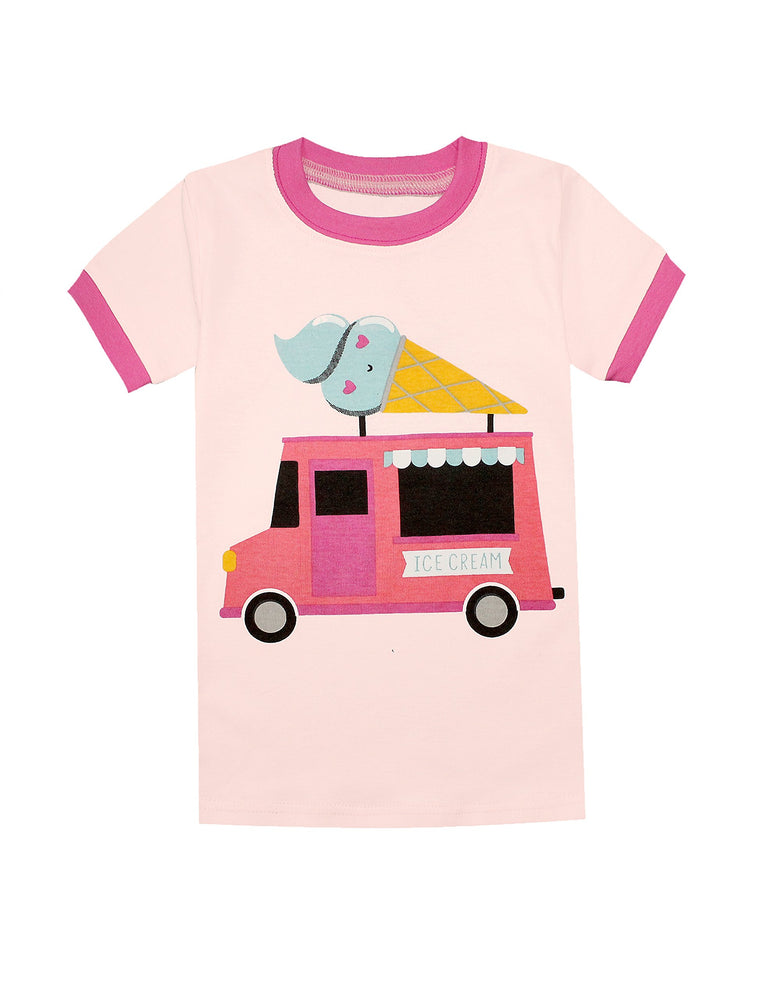 Elowel Girls Shorts Ice Cream 2 Piece Pajamas Set 100% Cotton (Size Toddler-10Y)