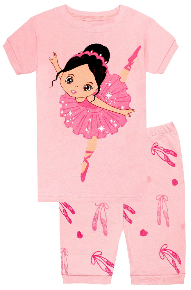 Elowel Girls Shorts Ballerina 2 Piece Pajamas Set 100% Cotton (Size Toddler-10Y)