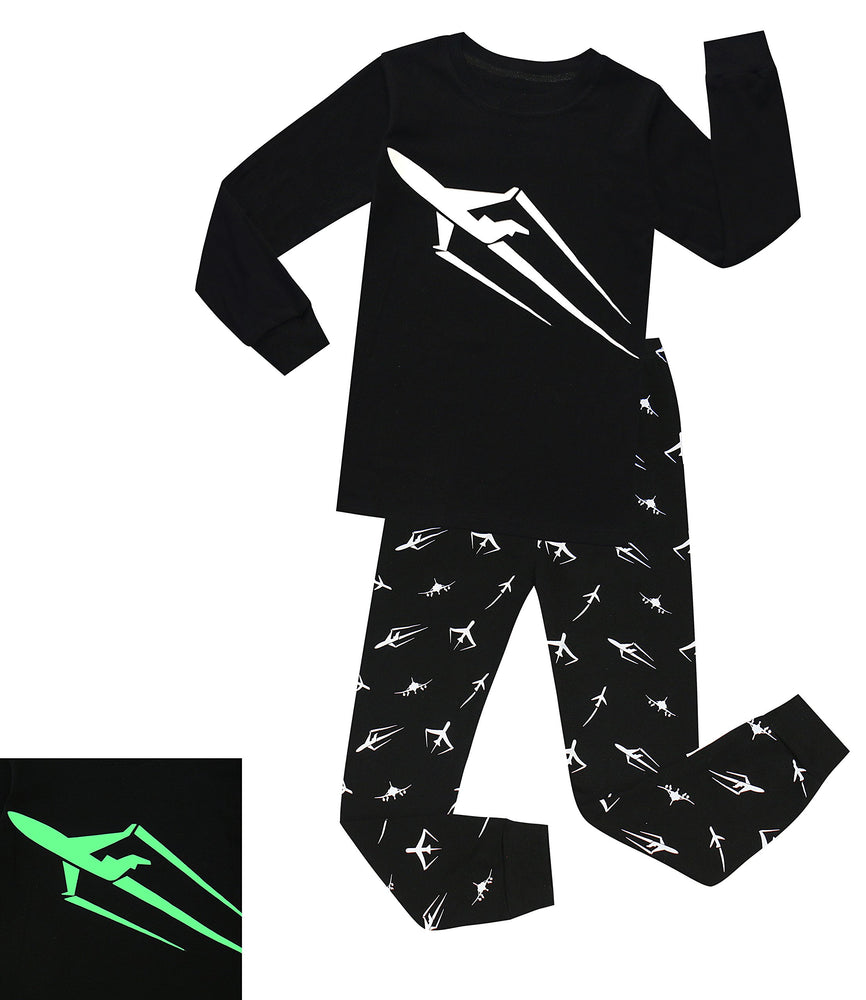 Elowel Boys Glow in The Dark Space Rocket 2 Piece Pajamas Set 100% Cotton (Size2Y-10Y)