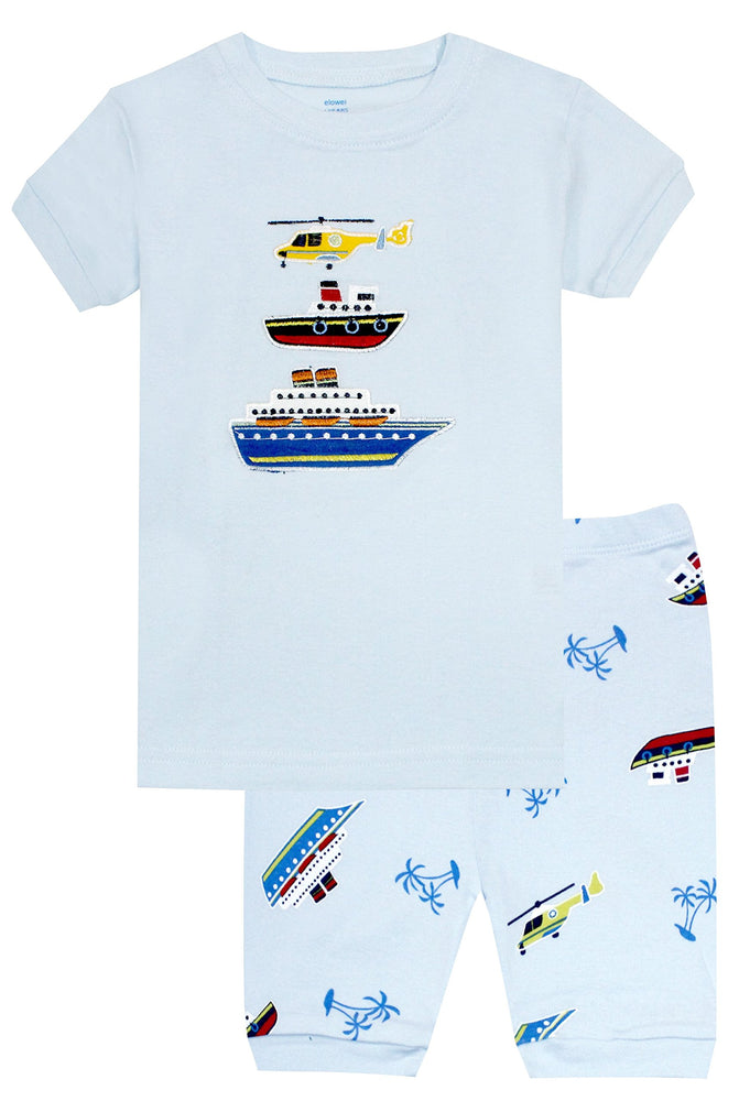 Elowel Boys Shorts Boat 2 Piece Pajamas Set 100% Cotton (Size Toddler-10Y)