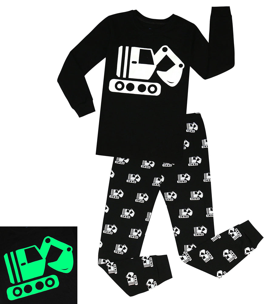Elowel Boys Glow in The Dark Tractor 2 Piece Pajamas Pjs Set 100% Cotton (Size2Y-10Y)