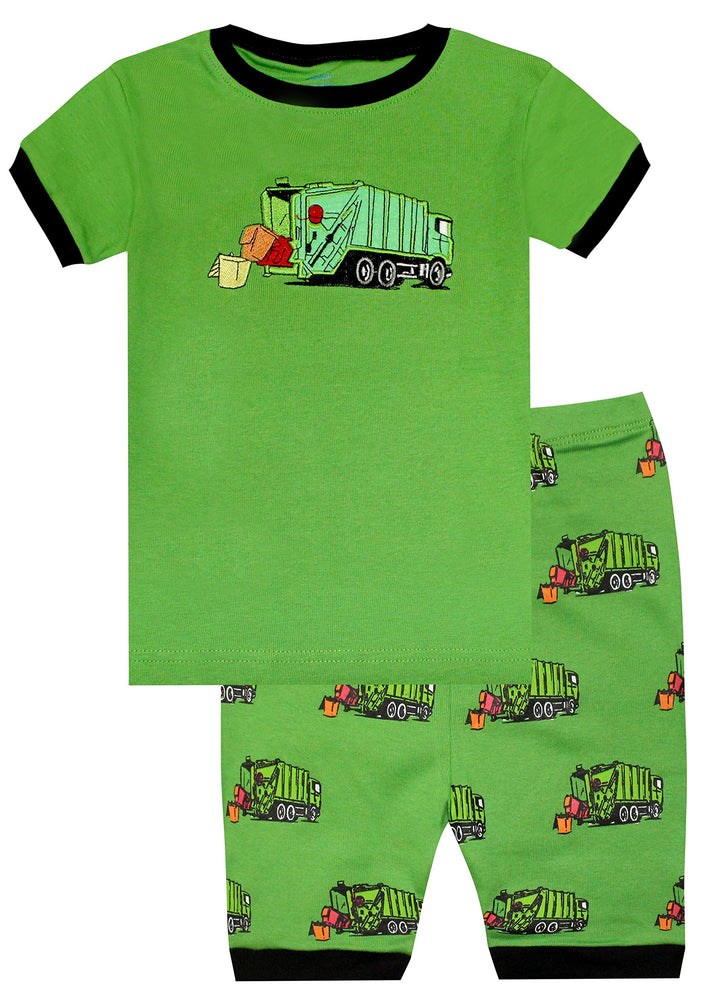 Elowel Boys Shorts Garbage Truck 2 Piece Pajamas Set 100% Cotton (Size Toddler-10Y)